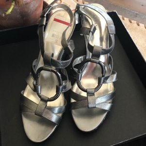 "Silver 3"" wedges Never worn! Size 9"